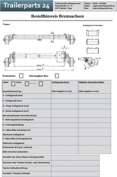 Datenblatt Bremsachsen zum Aufmaß Ihrer gebremsten Achse