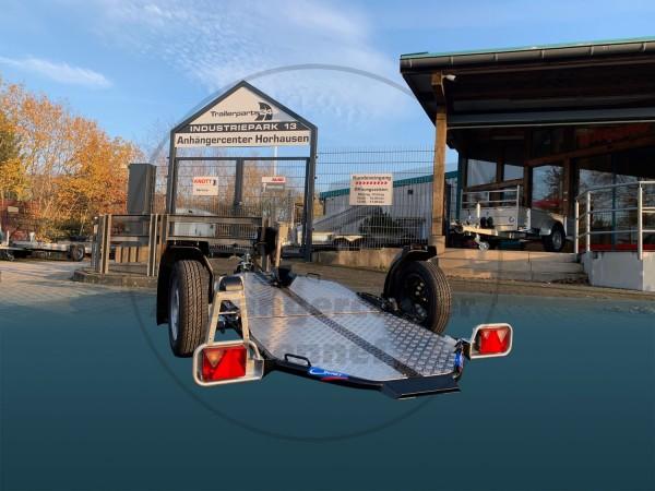 Cochet Uno 500 faltbarer und absenkbarer Motorradanhänger mit 500 kg zul. Gesamtgewicht